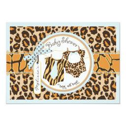 Twin Boys Tie Bow Tie Cheetah Print Baby Shower