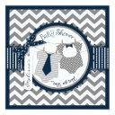 Twin Boys Ties Chevron Print Baby Shower Invitations