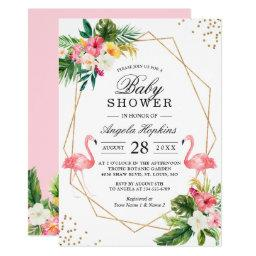 Twin Girls Baby Shower Tropical Floral Flamingos