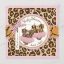 Twin Girls Pink Tutus Cheetah Print Baby Shower Invitation