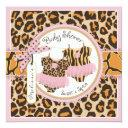 Twin Girls Pink Tutus Cheetah Print Baby Shower Invitations