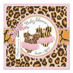 Twin Girls Pink Tutus Cheetah Print Baby Shower