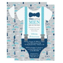 Twin Little Men Baby Shower Invitation, Blue, Gray