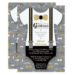 Twin Little Men Baby Shower Invite, Faux Glitter