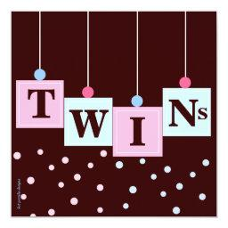 Twin Pink Blue Blocks Boy and Girl Baby Shower
