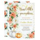 Twin Pumpkin Baby Shower Invitations Orange & Gold