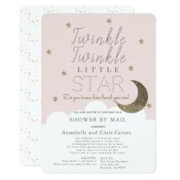 Twinkle Little Star Blush Pink Baby Shower By Mail Invitation