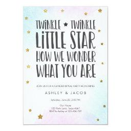 Twinkle Little Star Gender Reveal Party Gold Invitation