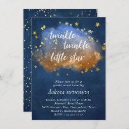 Twinkle Little Star | Neutral Blue Copper And Gold Invitation