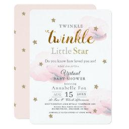 Twinkle Little Star Pink Virtual Baby Shower Invitation