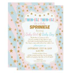 Twinkle Twins Baby Sprinkle, Boy And Girl Twins Invitation