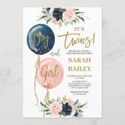 Twins Baby Shower Invitation Boy And Girl