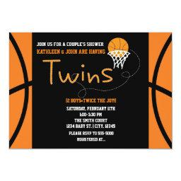 Twins Basketball Sports Baby Shower Invitation