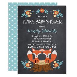 Twins Chalkboard Fox Baby Shower