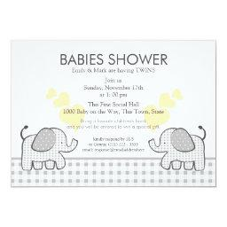 Twins Gray Gingham Baby Shower