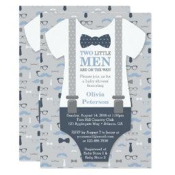 Twins Little Man Baby Shower Invitation, Blue Gray