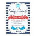 Twins Nautical Whale Baby Shower Invitation