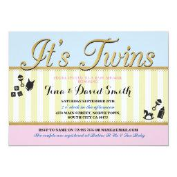 Twins Pink Blue Gold Boy Girl  Invite