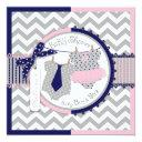Twins Tie Tutu Chevron Baby Shower Invitations