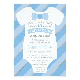 Two Little Feet Baby Shower Invitation, Bow Tie
