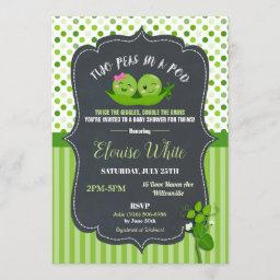 Two Peas In A Pod Baby Shower Twins Girl And Boy Invitation