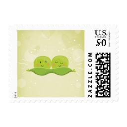 Two Peas In A Pod Postage Stamps  twins