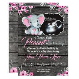 Ultrasound Elephant Baby Shower Invitation, Rustic Invitation