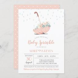Umbrella With Flowers Girl Or Twins Baby Sprinkle Invitation