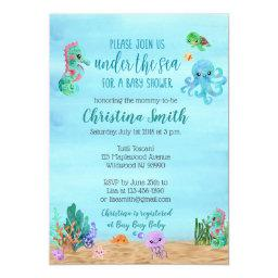Under The Sea Baby Shower Invitationss