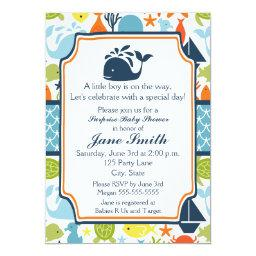 Under The Sea, Ocean Animals Baby Shower Invitation