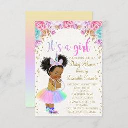 Unicorn African American Princess Baby Shower In Invitation
