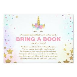 Unicorn Baby Shower Bring a book Pink Gold Girl