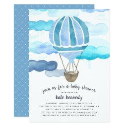 Up In The Air Baby Shower Invitation | Blue