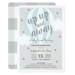 Up Up And Away Hot Air Balloon Blue Baby Shower Invitation