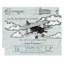 Vintage Airplane | Travel Baby Shower Invitations