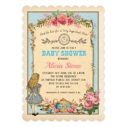 Vintage Alice In Wonderland Baby Shower Tea Invite