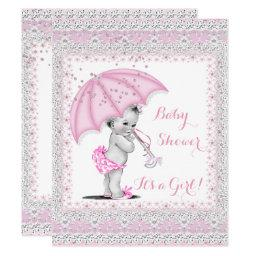 Vintage Baby Shower Girl Pink Sprinkle Umbrella Invitations