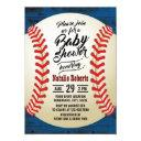 Vintage Baseball Navy Barn Wood Baby Shower Invitation