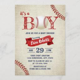 Vintage Baseball Sports Theme Boy Baby Shower Invitation