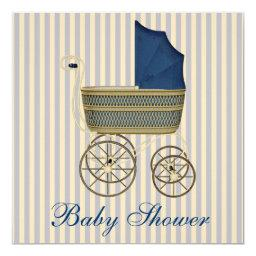 Vintage Blue Carriage Pram Vintage Baby Boy Shower