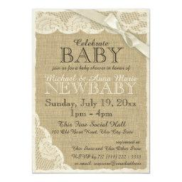 Vintage Burlap and Lace with Bow Baby Shower