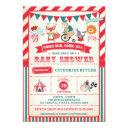 Vintage Carnival Circus Animals Baby Shower Invite