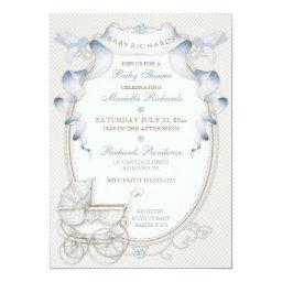 Vintage Carriage Ivory Gingham Blue Birds Invitation