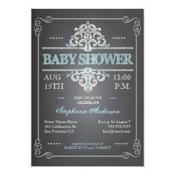 Vintage Chalkboard Baby Shower Boy Blue