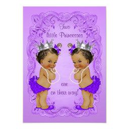 Vintage Ethnic Princess Twins Baby Shower Purple Invitation
