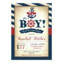 Vintage Nautical Baby Shower Invitation Boy