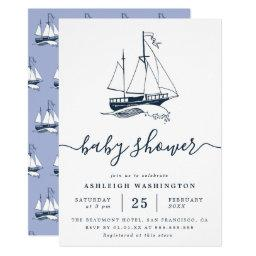 Vintage Navy Ship Nautical Baby Shower Invitations
