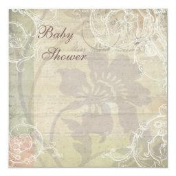 Vintage Pearls & Lace Floral Collage Baby Shower