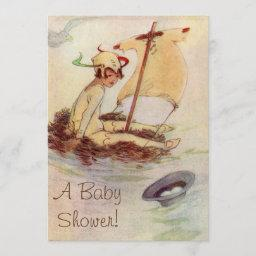 Vintage Peter Pan Baby Shower Invitation