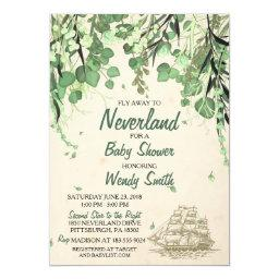 Vintage Peter Pan Neverland Baby Shower Invitations